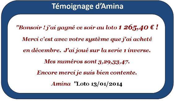 Amina a gagné au loto avec notre système 25