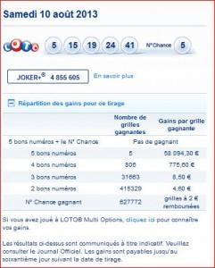 resultat-loto-tirage-samedi-10-aout-rapport-numéro-gagnant