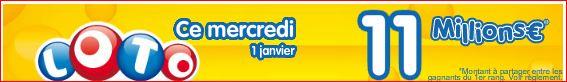 tirage loto mercredi 1 janvier jackpot de 11 millions d'euros