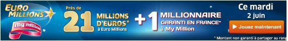 Euro Millions jackpot mardi 2 juin