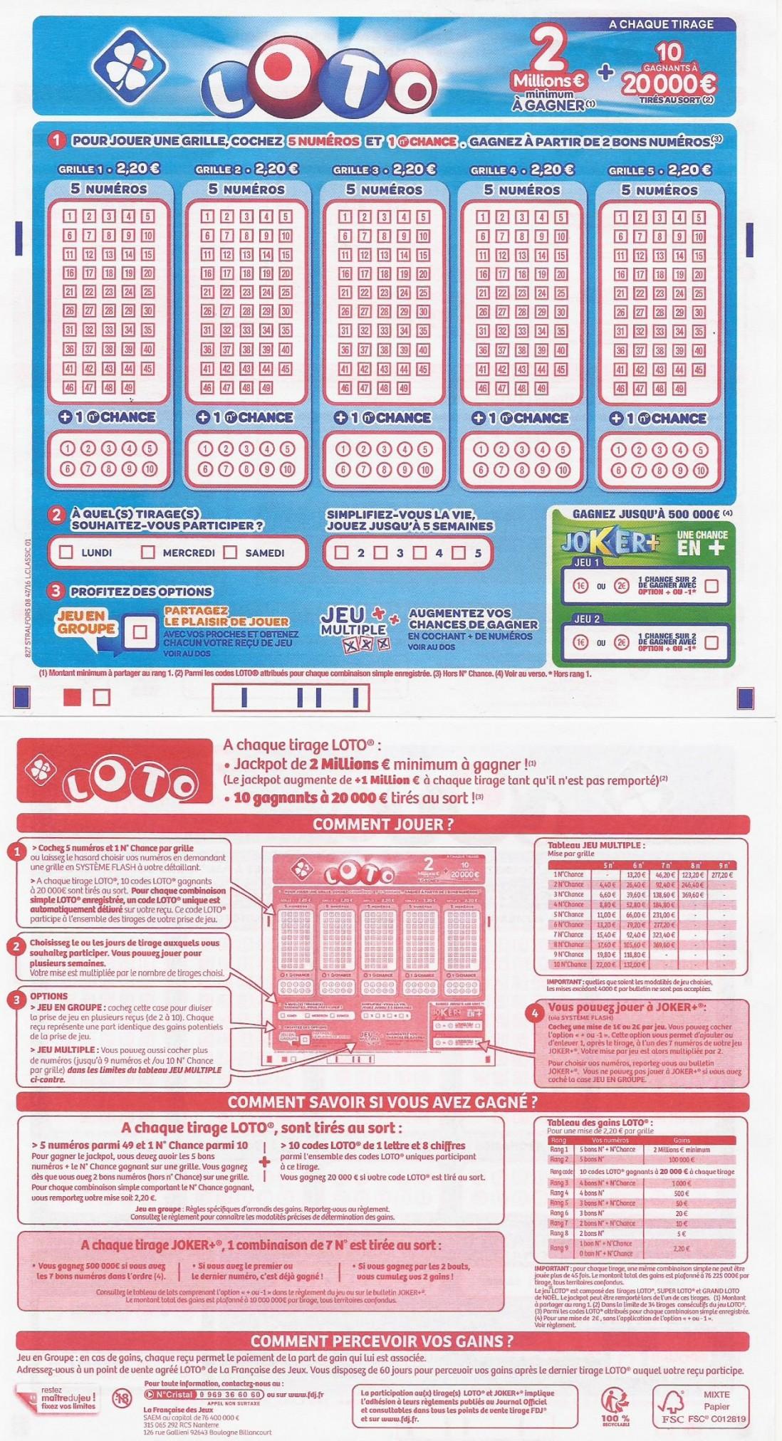 nouveau ticket loto et distribution des gains